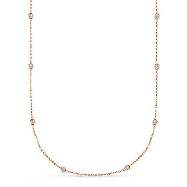 Bezel Set Diamond Long Station Necklace in 14K Rose Gold (1.00 cttw.) at B2C Jewels