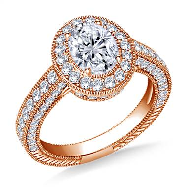 Oval Halo Vintage Diamond Engagement Ring in 14K Rose Gold at B2C Jewels