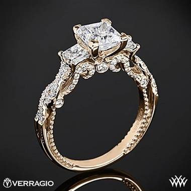 20k Rose Gold Verragio INS-7074P Beaded Braid Princess 3 Stone Engagement Ring at Whiteflash