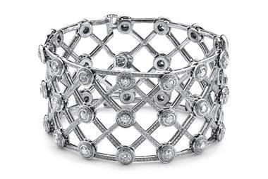 Round Diamond Micropave Halo Cuff Bracelet - in Platinum at Ritani
