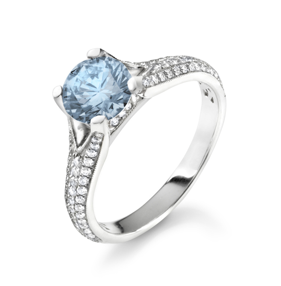 Rebel Chique Diamonds by Royal Asscher man-made blue diamond ring