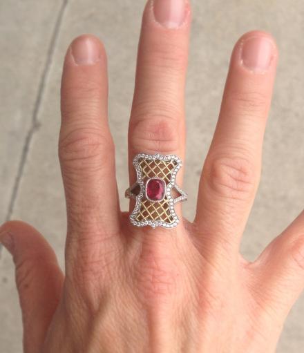Custom ruby and diamond ring by Maytal Hannah