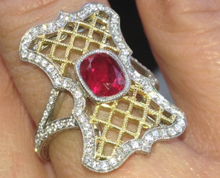 Custom ruby and diamond ring by Maytal Hannah