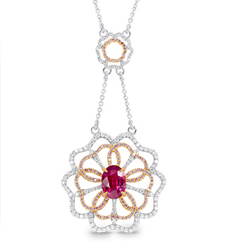 Leibish & Co. - Ruby and Pink Diamond Flower Necklace (Image:  Courtesy of Leibish & Co.)