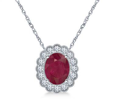14K White Gold Ruby and Diamond Pendant Necklace with Scalloped Halo (9x7mm) at B2C Jewels
