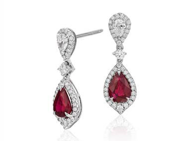 Ruby and Diamond Drop Earrings in 18k White Gold at Blue Nile