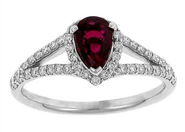 Fana R1424RWG Ruby and Pave Diamond Halo Ring at Solomon Brothers