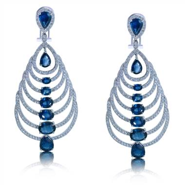 Sapphire and Diamond Chandelier Earrings set in 18KT White Gold 18.30ct B07639ES1S8W-IGCD at I.D. Jewelry