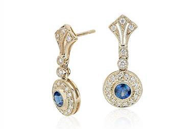 Sapphire and Diamond Vintage-Inspired Earrings in 14k Yellow Gold (3.5mm) at Blue Nile