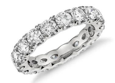 Blue Nile Studio Scalloped Prong Diamond Eternity Ring in Platinum (3 ct. tw.) at Blue Nile