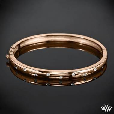 "14k Rose Gold ""Scattered Diamond"" Bangle by Whiteflash"