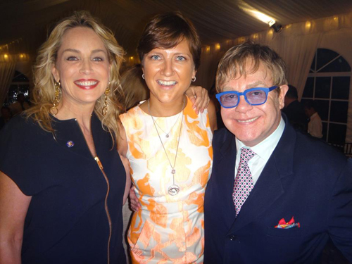 Sharon Stone, Lita Asscher, and Elton John at the Human Rights Campaign Fundraiser