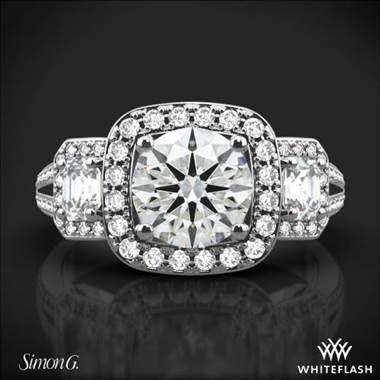 Platinum Simon G. TR446 Three Stone Passion Halo Diamond Engagement Ring at Whiteflash