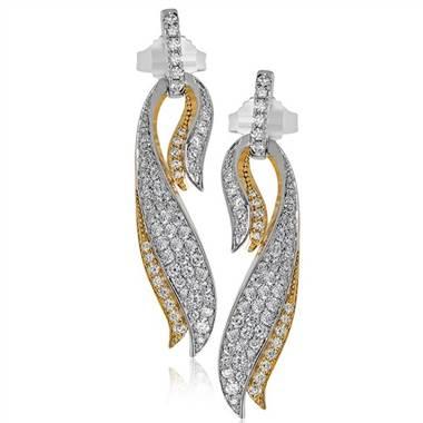 """Simon G DE255 Simon G """"Garden Collection"""" Cascade Design Diamond Earrings at Solomon Brothers"""