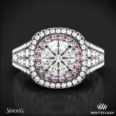 18k White Gold Simon G. MR2453 Passion Double Halo Engagement Ring at Whiteflash