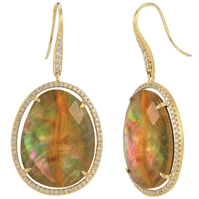 Since 1910 pave diamond earrings with rutilated quartz