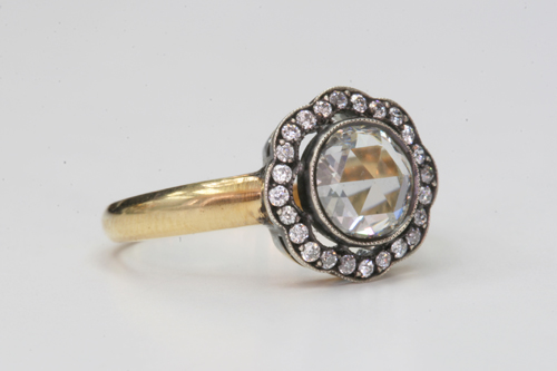 Vintage Inspired Rose-Cut Diamond Engagement Ring by Single Stone
