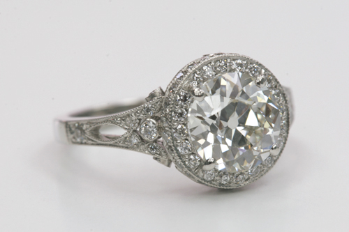 Vintage Inspired Diamond Halo Engagement Ring by Single Stone