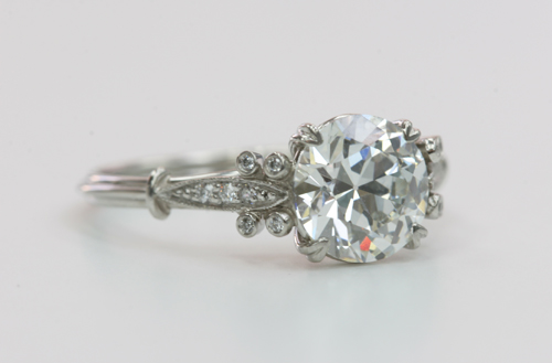 Vintage Inspired Diamond Engagement Ring by Single Stone