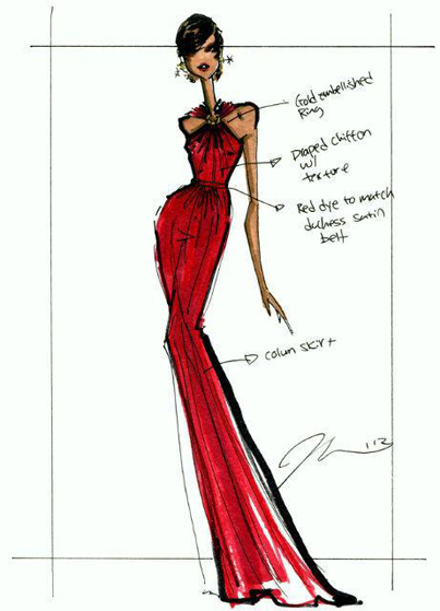 Jason Wu's sketch of Michelle Obama's 2013 Inaugural Ball gown