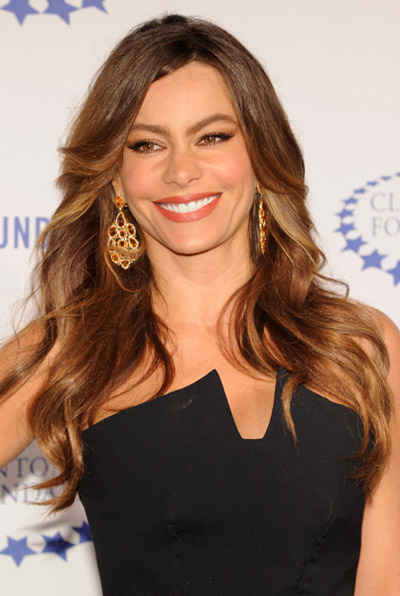 Sophia Vergara in Sutra Orange Sapphire and Diamond Earrings