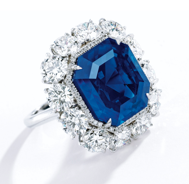 A 17.16-carat Kashmir sapphire and diamond ring • Image: Sotheby's