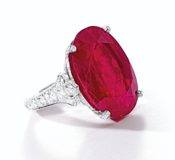 29.62-carat Burmese ruby and diamond ring by Cartier • Sotheby's Hong Kong