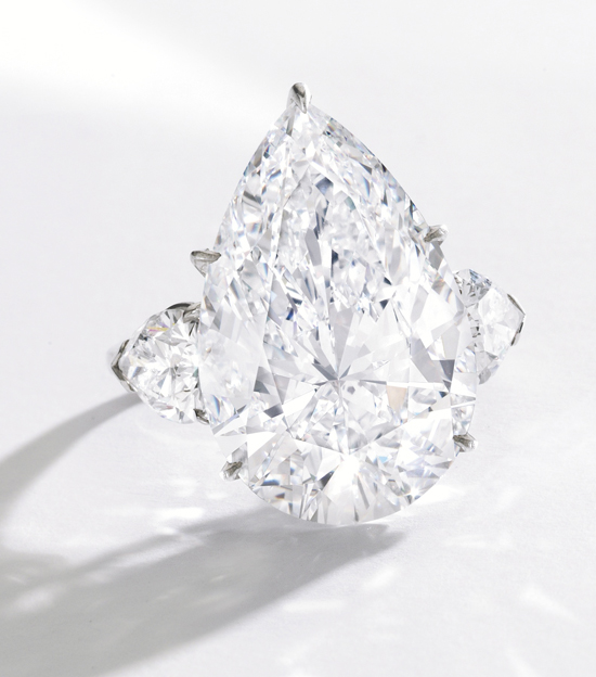 15.10-carat pear-shaped diamond ring • Sotheby's