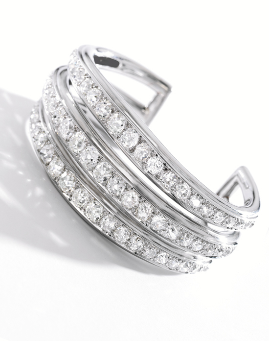 Triple-band diamond cuff bracelet by Suzanne Belperron • Sotheby's