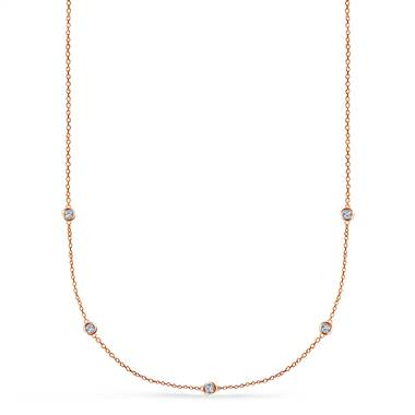 Diamond Station Necklace in 14K Rose Gold (1/4 cttw.) by B2C Jewels