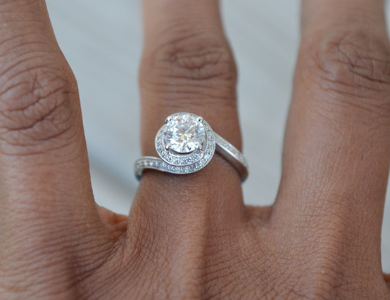 Jewel Of The Week Swirl Halo Engagement Ring Pricescope