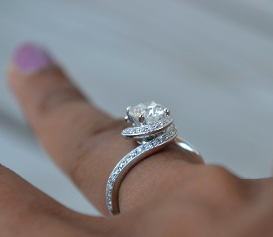 Swirl Halo Engagement Ring • Image by Cooks