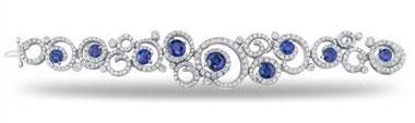 Sapphire and Diamond Swirl Bracelet - in Platinum - (7.79 CTW) by Ritani