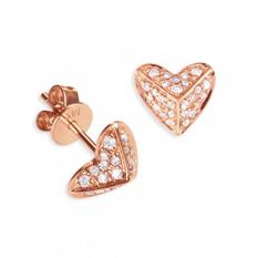 Pyramid heart diamond studs by Sydney Evan