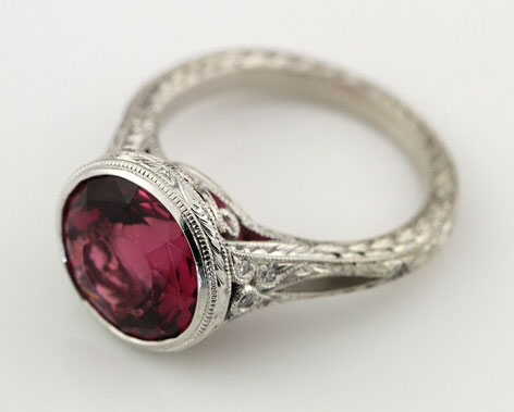 Acinom's Art Deco Rubellite Tourmaline Bezel Ring (Top Angle View) - image by Brilliantly Engaged