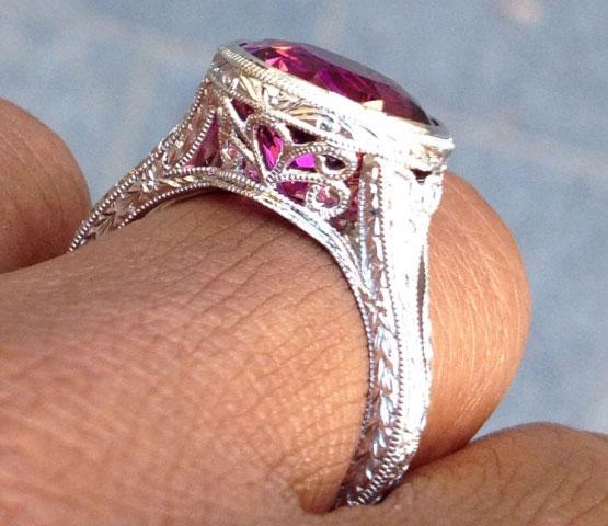 Acinom's Art Deco Rubellite Tourmaline Bezel Ring (Side View) - image by Acinom