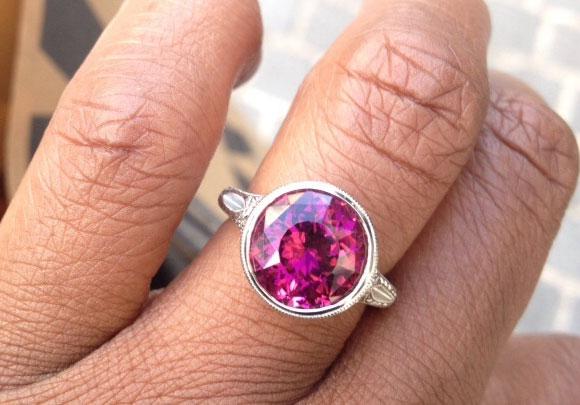 Acinom's Art Deco Rubellite Tourmaline Bezel Ring (Hand View) - image by Acinom