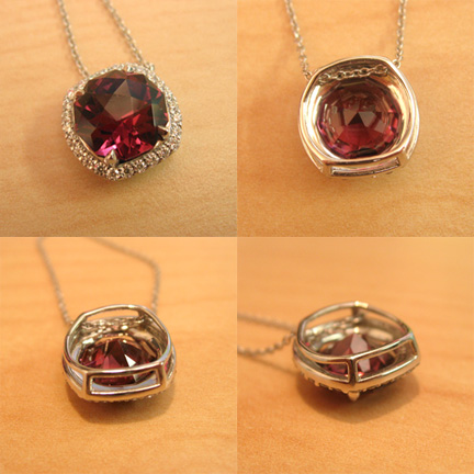 TBT Babyblue033 Whiteflash Garnet Halo Pendant (4 Different Views) - image by Babyblue033