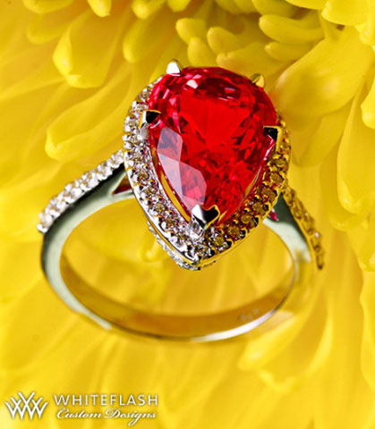 Chrono's Pear Neon Red Mahenge Spinel Halo Ring (Flower View) - image by Whiteflash