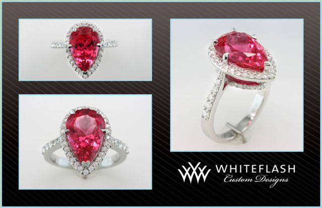 Chrono's Pear Neon Red Mahenge Spinel Halo Ring (Multiple View) - image by Whiteflash