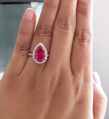 Chrono's Pear Neon Red Mahenge Spinel Halo Ring (Hand View) - image by Chrono