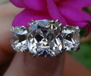 Cushioncutbride's 3 Stone Antique Engagement Ring:  5 Plus CTW Cushion Diamonds (Top View) - image by Cushioncutbride