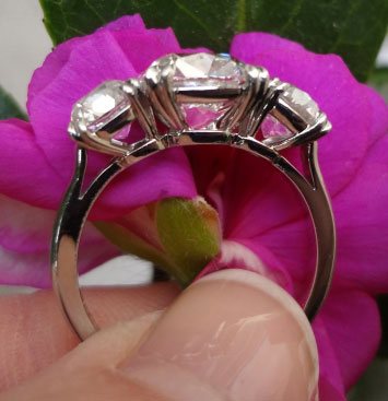 Cushioncutbride's 3 Stone Antique Engagement Ring:  5 Plus CTW Cushion Diamonds (Side View) - image by Cushioncutbride