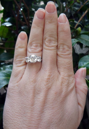 Cushioncutbride's 3 Stone Antique Engagement Ring:  5 Plus CTW Cushion Diamonds (Hand View) - image by Cushioncutbride