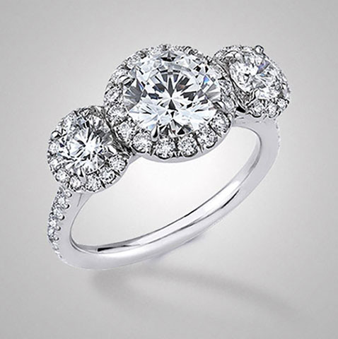 Jane101's 3 Stone Pave Halo (Top View) - image by Victor Canera
