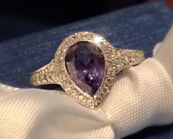 JoCoJenn's Amazing Color Changing Alexandrite Bezel Halo Pear Ring (Top View) - image by JoCoJenn