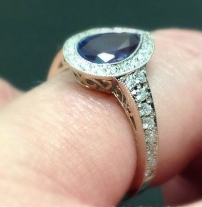 JoCoJenn's Amazing Color Changing Alexandrite Bezel Halo Pear Ring (Side Angle View) - image by JoCoJenn