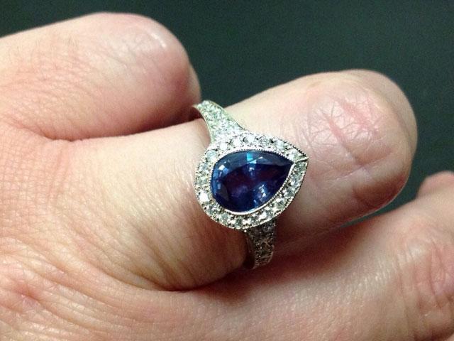 JoCoJenn's Amazing Color Changing Alexandrite Bezel Halo Pear Ring (Hand View) - image by JoCoJenn