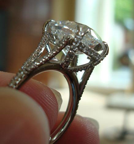 Pepper52's 5.07 Carat Modified Cushion Split Shank Engagement Ring (Side Angled View) - image by Pepper52