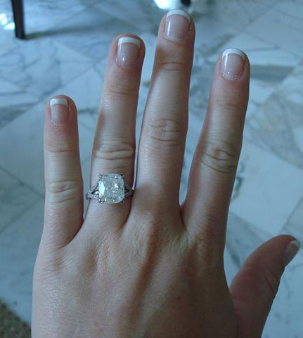 Pepper52's 5.07 Carat Modified Cushion Split Shank Engagement Ring (Hand View) - image by Pepper52